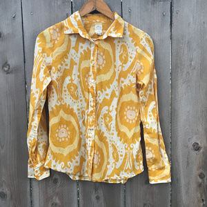 J.Crew The Perfect Shirt Yellow Abstract Button Up